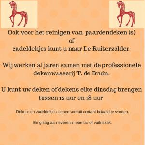 Ook voor het reinigen van je paardendeken of zadeldekjes kan je naar De Ruiterzolder (1)